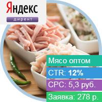 Контекстная реклама для сайта оптовой продажи мяса для ресторанов и др. заведений.