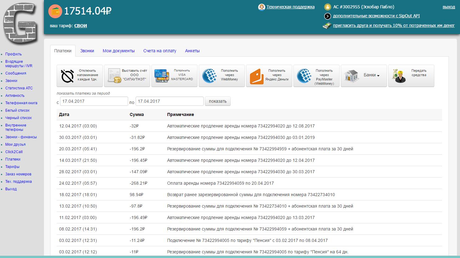 SipOut.net сервис IP телефонии
