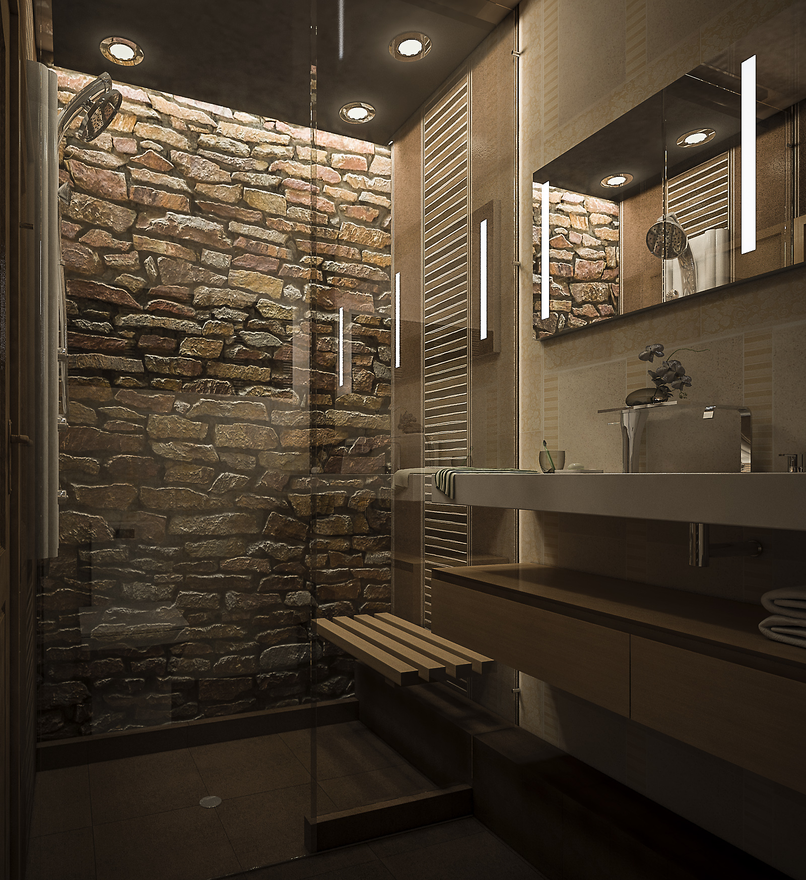 Каменное обрамление ванны