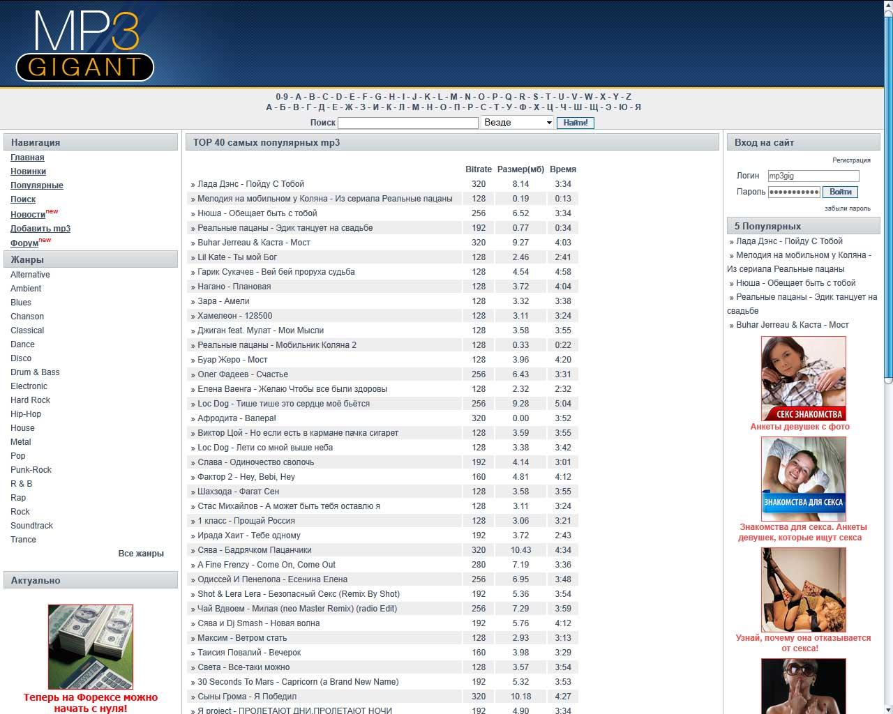 Сайт для музыкального портала Mp3Gigant.net