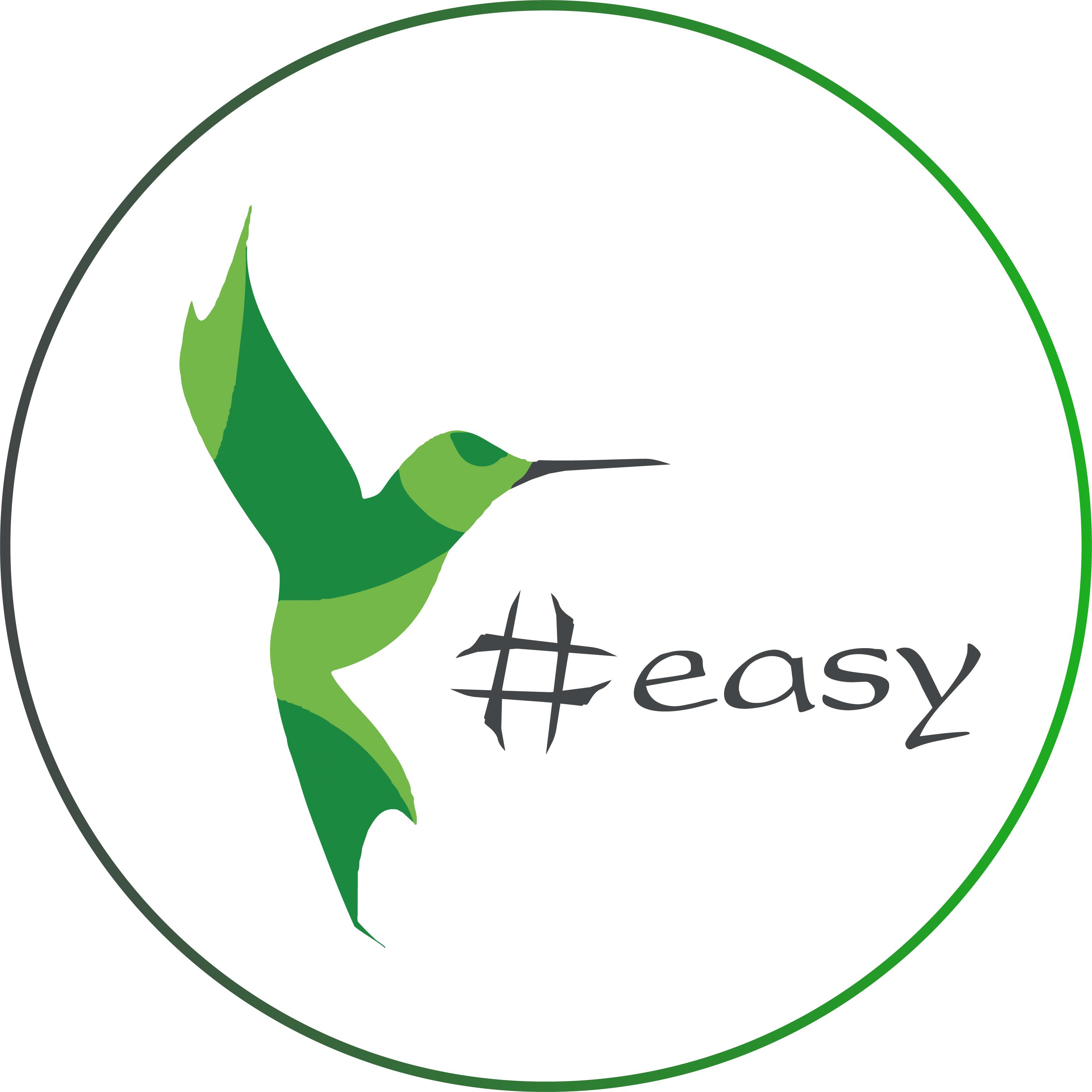 Разработка логотипа в виде хэштега #easy с зеленой колибри  фото f_5685d50394759f48.jpg