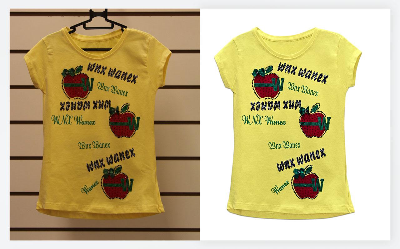 Предметная съемка для интернет-магазина желтая футболка