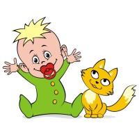 малыш с котёнком