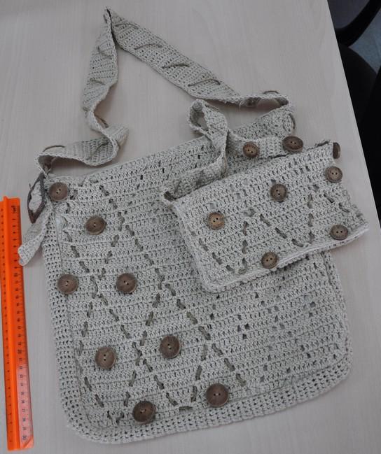 Вязаные детские сумки, узор ромбы.