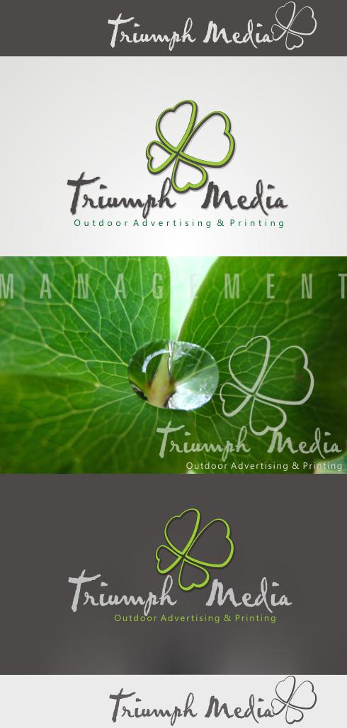 Разработка логотипа  TRIUMPH MEDIA с изображением клевера фото f_506f46d5a5a56.png