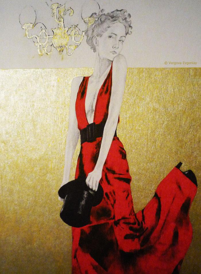 Красное платье под люстрой (рисунок гелевыми ручками)