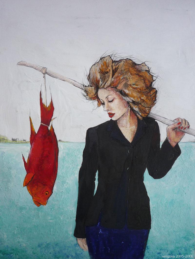 Красная рыба (гуашь, карандаш)