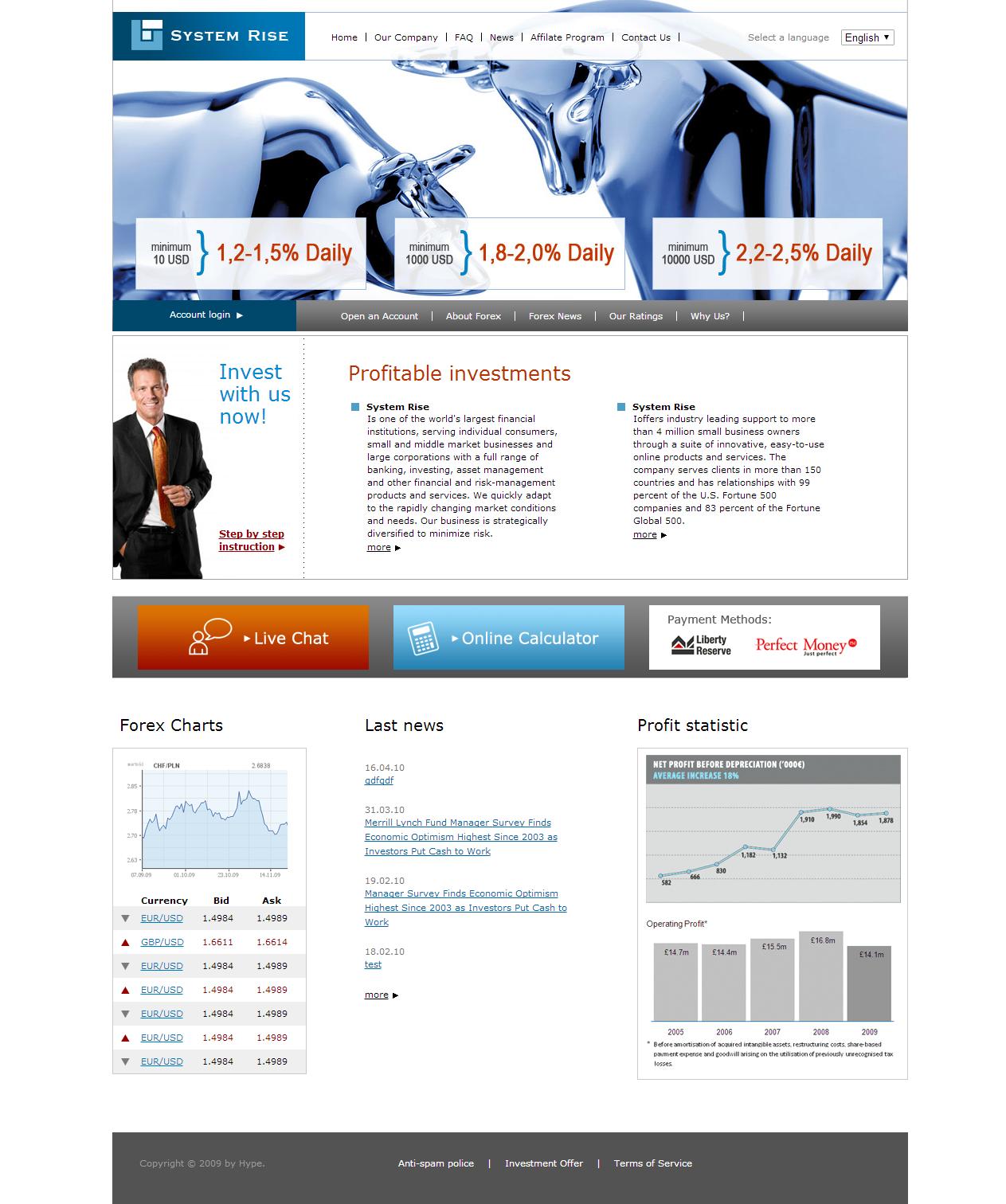 Сайт для сбора инвестиций с использованием Yii