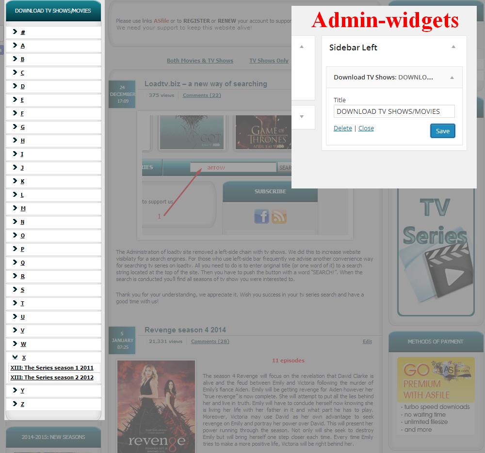 Wordpress виджет меню быстрого поиска по первой букве с ajax подгрузкой