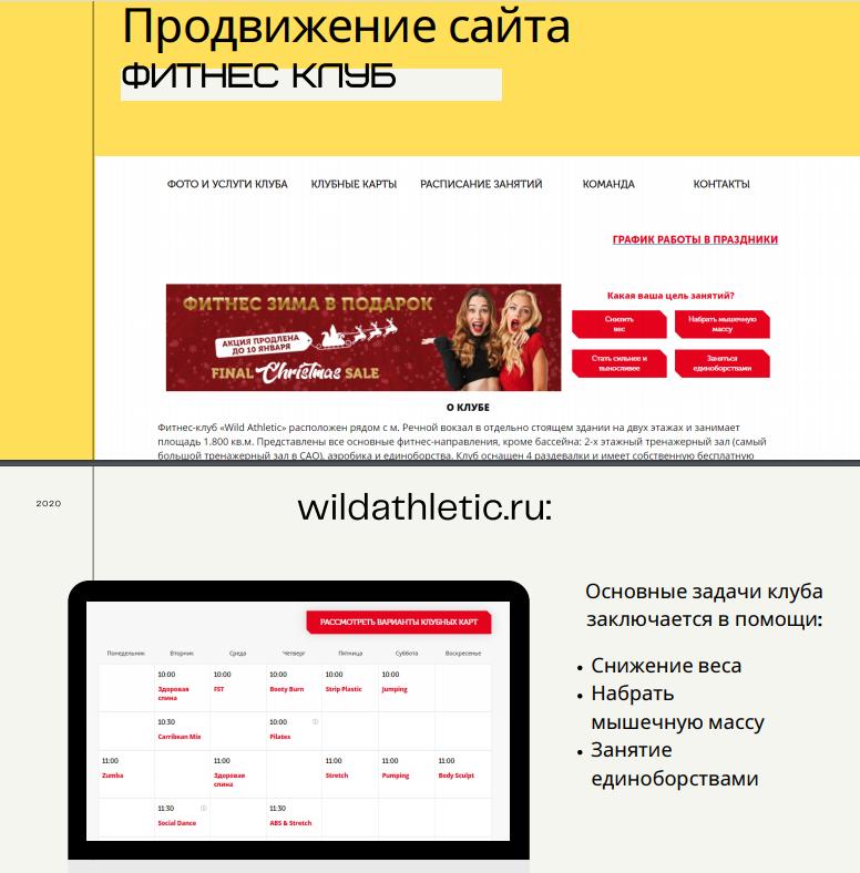 Продвижение сайта wildathletic.ru