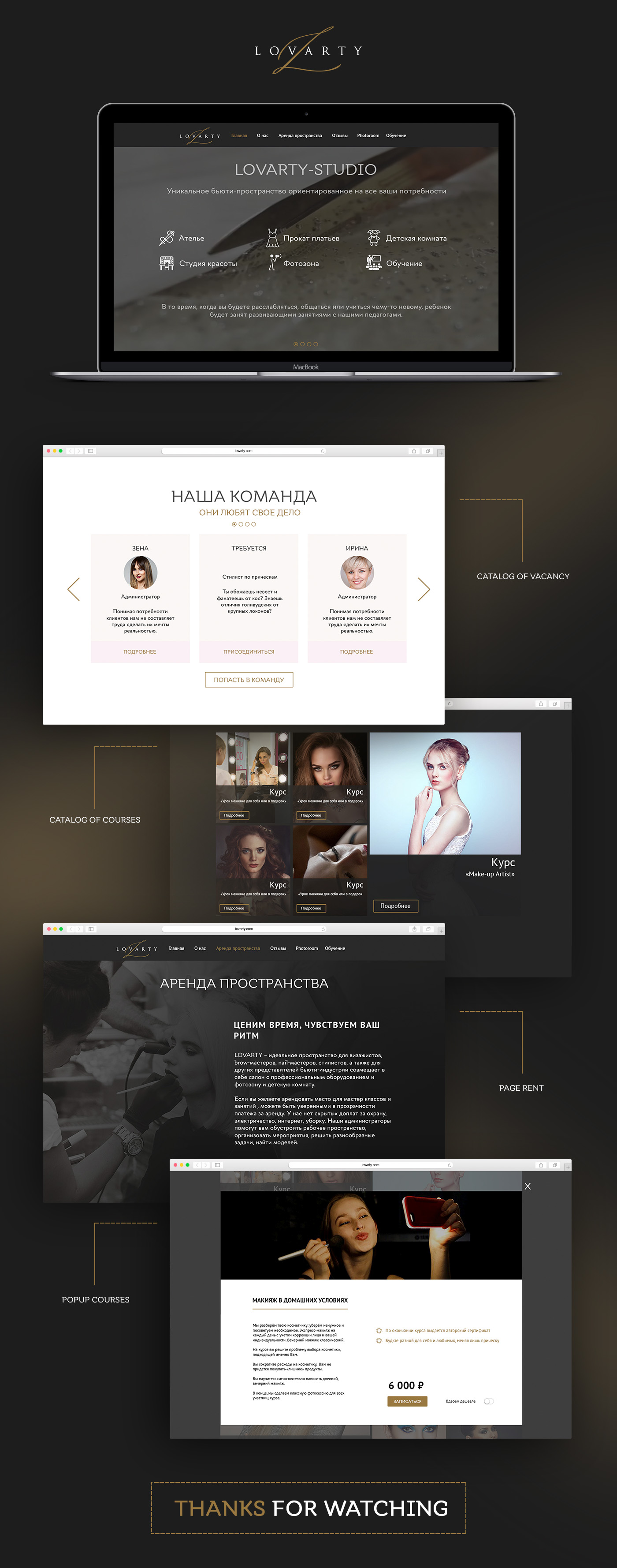 Lovarty - сайт под ключ Дизайн + Верстка