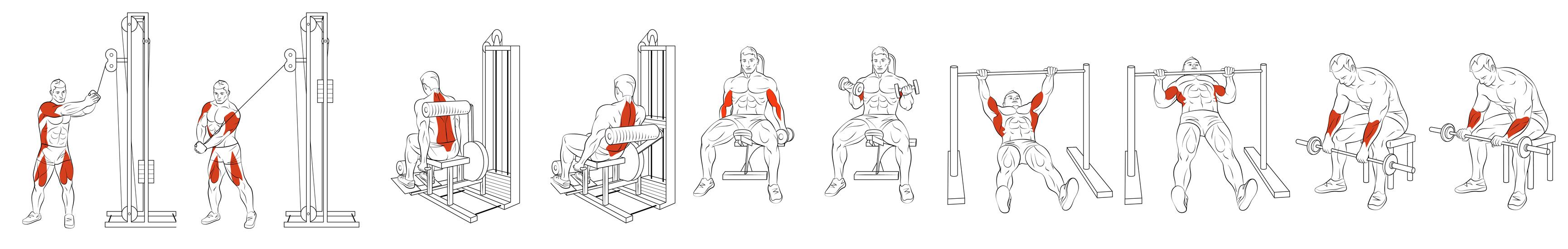 Серия иллюстраций. Спортивные упражнения для мобильных приложений.
