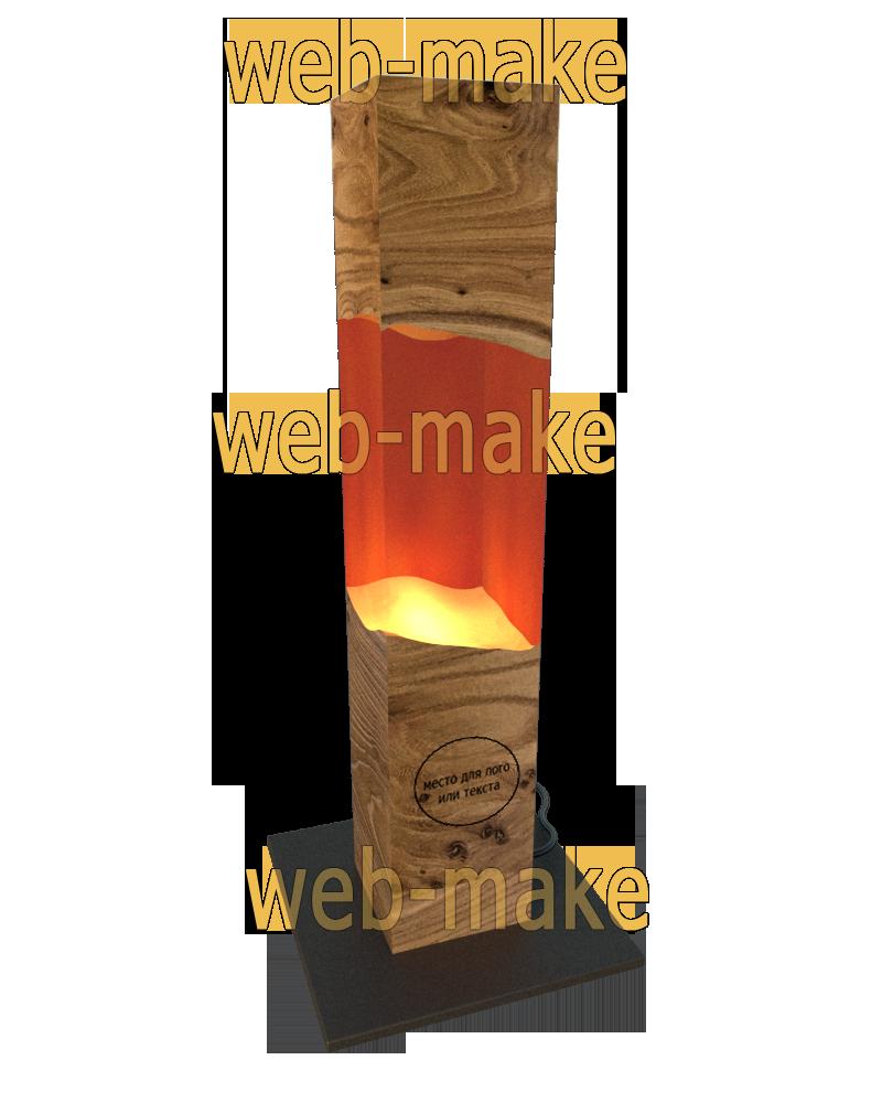 Дизайн, визуализация светильника из бруса и эпоксидной смолы