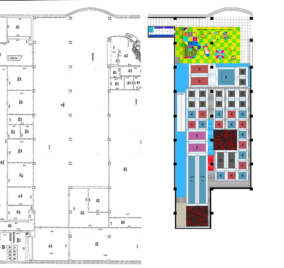 План расстановки и визуализация детских аттракционов в Торговом Центре