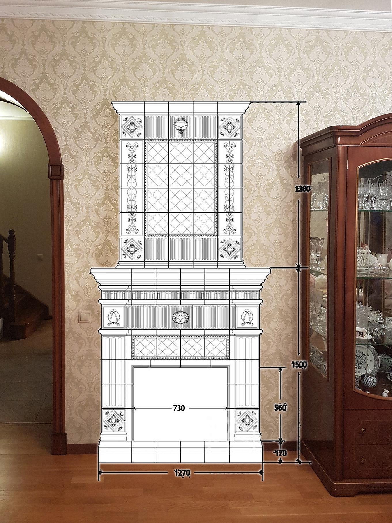 Визуализация камина в интерьере