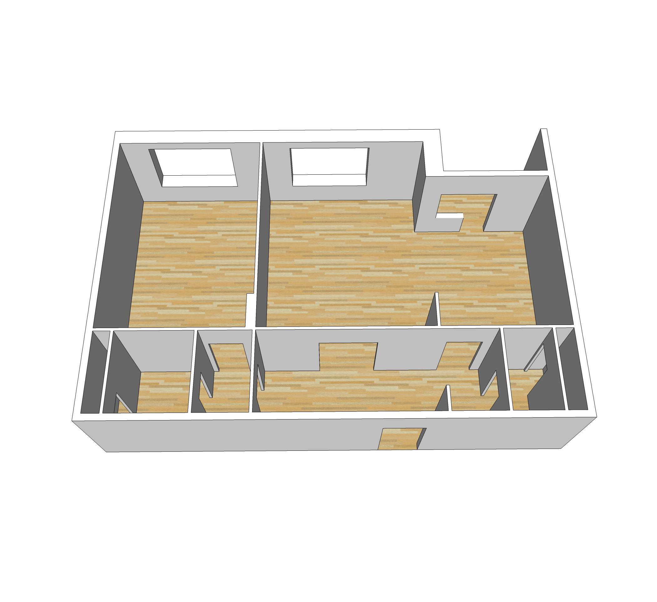 Проекция стен в 3Д по плану