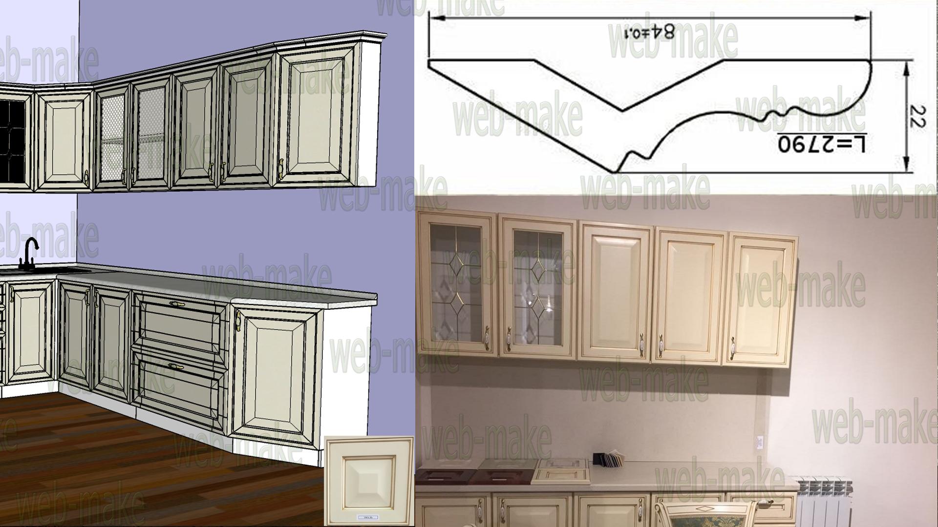 Моделирование гарнитура, фасада, карниза, визуализация в интерьере
