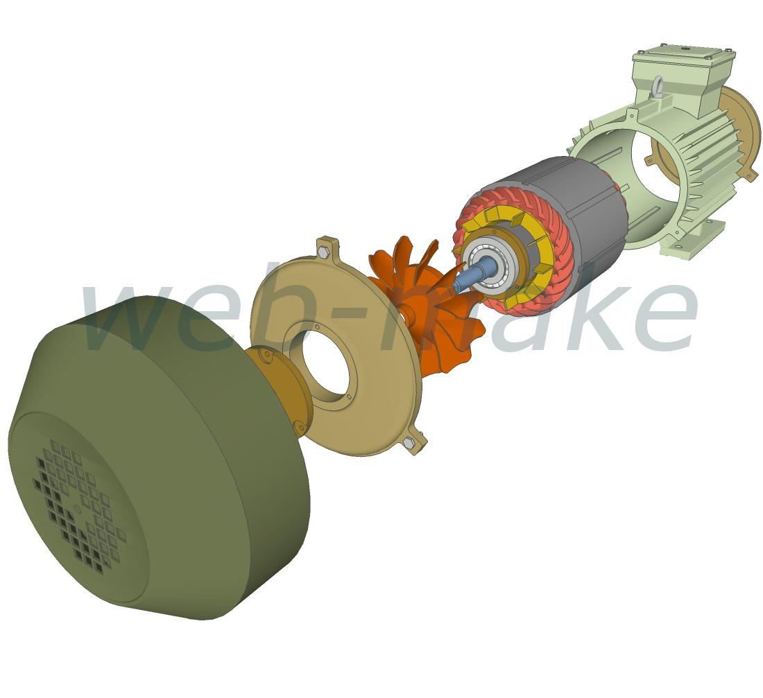 3Д моделирование двигателя, анимация сборки