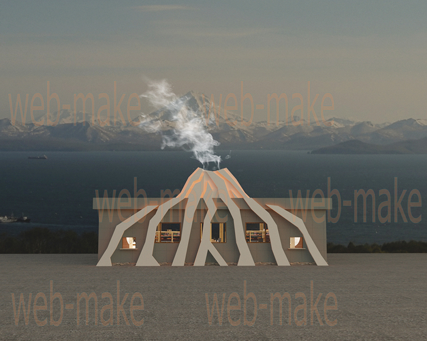 Дизайн проект конструкции для кафе с имитацией вулкана