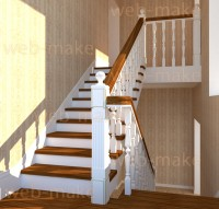Визуализация лестницы в интерьере. Моделирование балясин, перил.