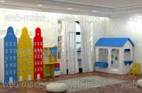 Моделирование и визуализация набора детской мебели в интерьере