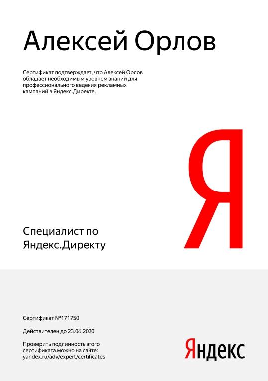 Сертификат 2019 Яндекс Директ