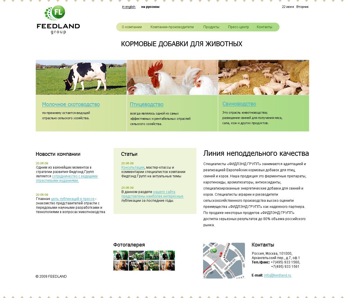Дизайн сайта Feedland