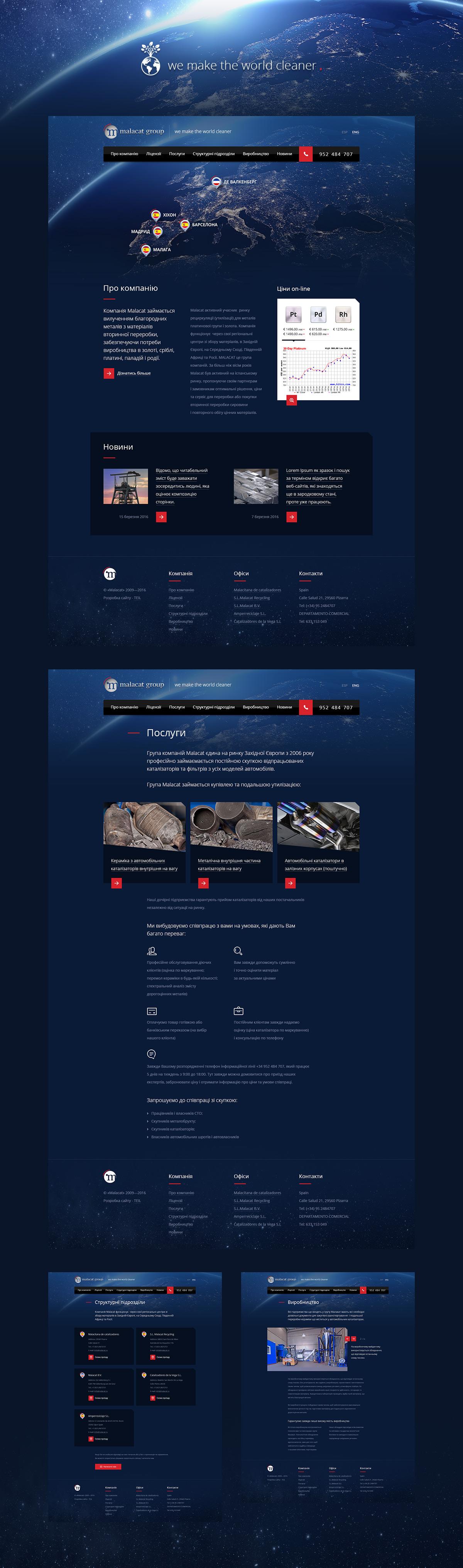 Дизайн корпоративного сайта «Malacat»