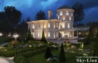 Ночная визуализация загородного дома