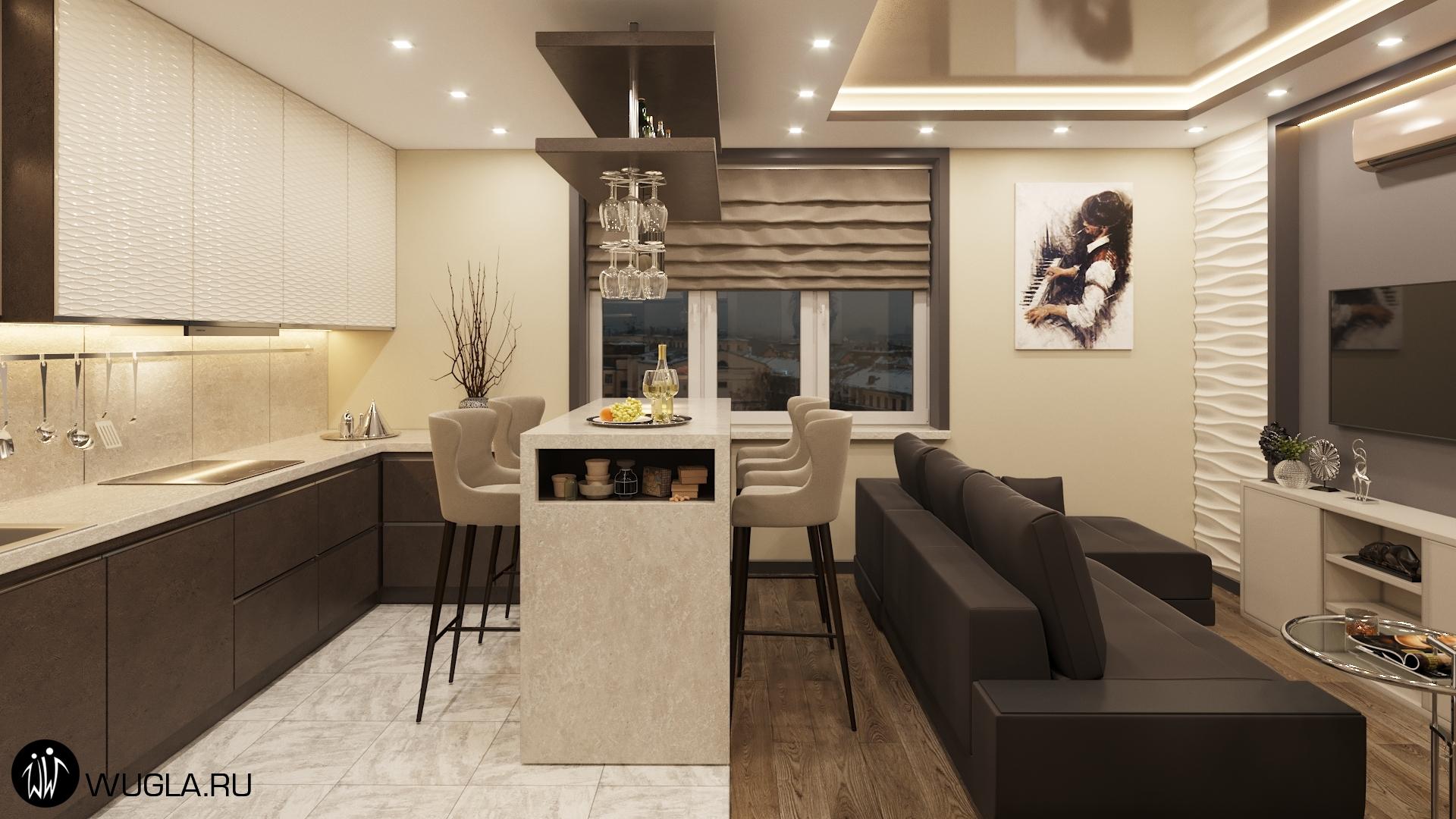 ЖК Мытищи Lite, Дизайн кухни-гостиной.