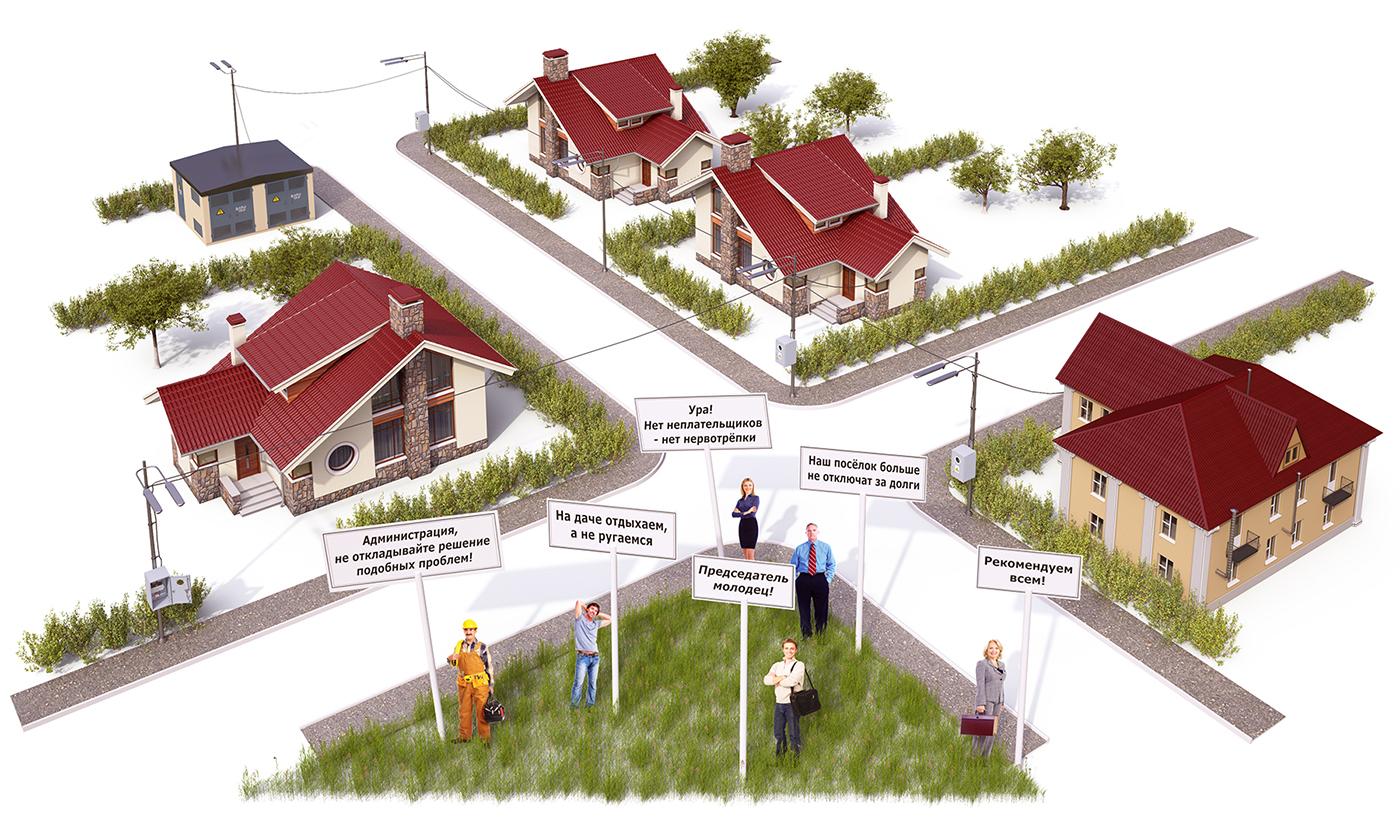 Схематичный коттеджный посёлок