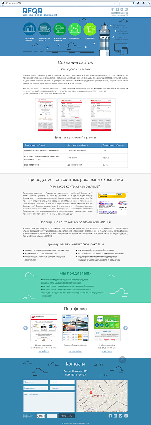 2016 - «RFQR» - создание веб-сайтов в Анапе