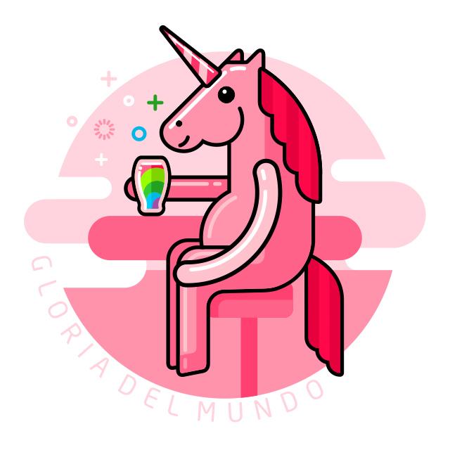 Розовый Единорог пьёт в баре радугу
