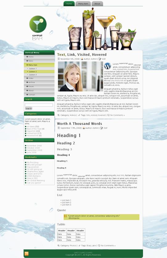 Готовый шаблон для кафе или бара (joomla, wordpress, drupal) - продается
