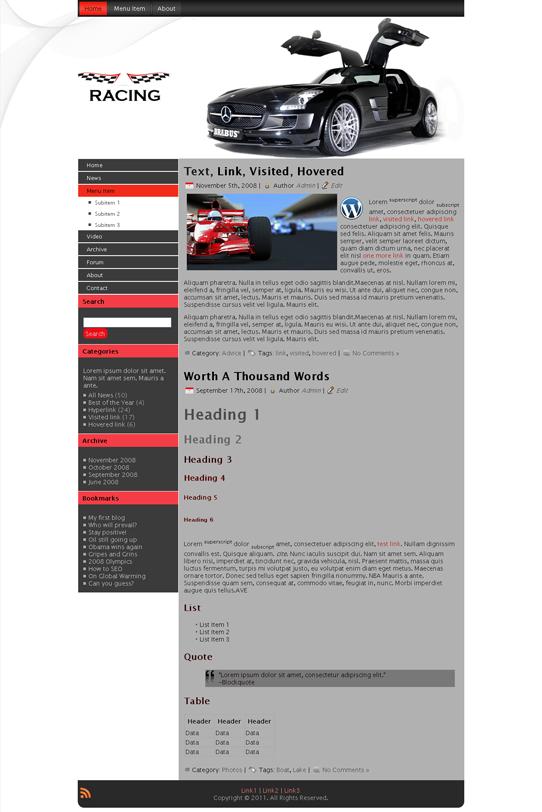 Готовый шаблон для авто сайта (joomla, wordpress, drupal) - продается