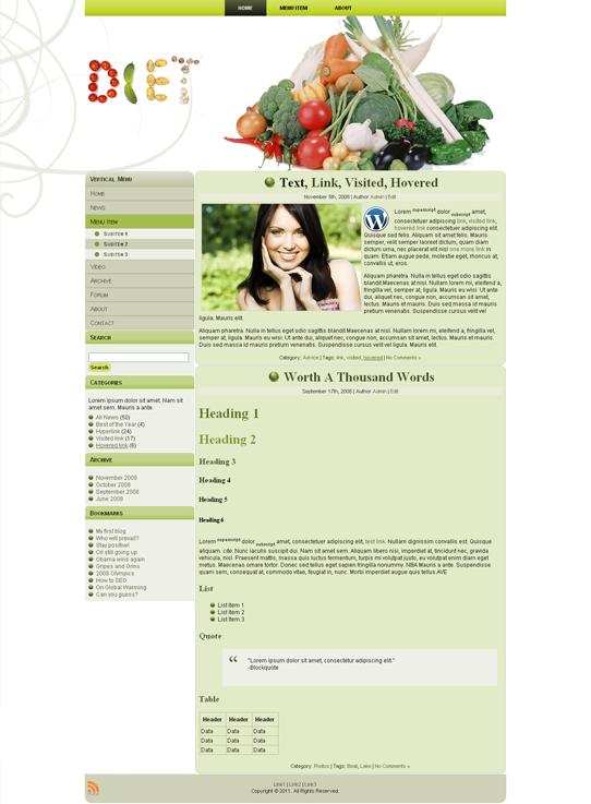 Готовый шаблон для кулинарного сайта (joomla, wordpress, drupal) - продается