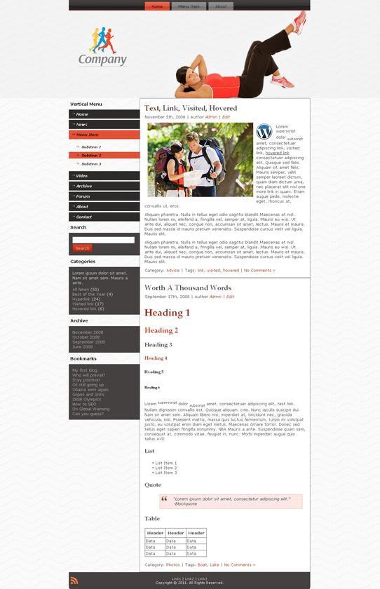 Готовый шаблон для спортивного сайта (joomla, wordpress, drupal) - продается