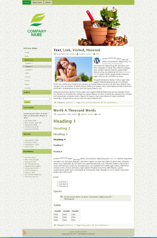 Готовый шаблон для сайта о флористике (joomla, wordpress, drupal) - продается