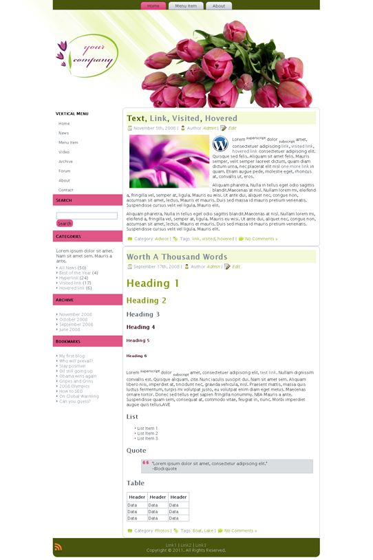 Готовый шаблон для салона цветов (joomla, wordpress, drupal) - продается