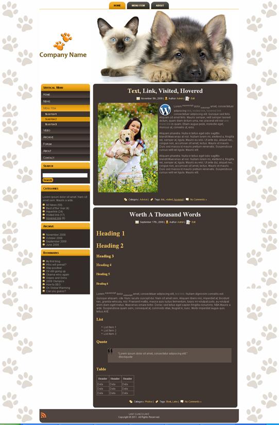 Готовый шаблон для сайта о животных (joomla, wordpress, drupal) - продается