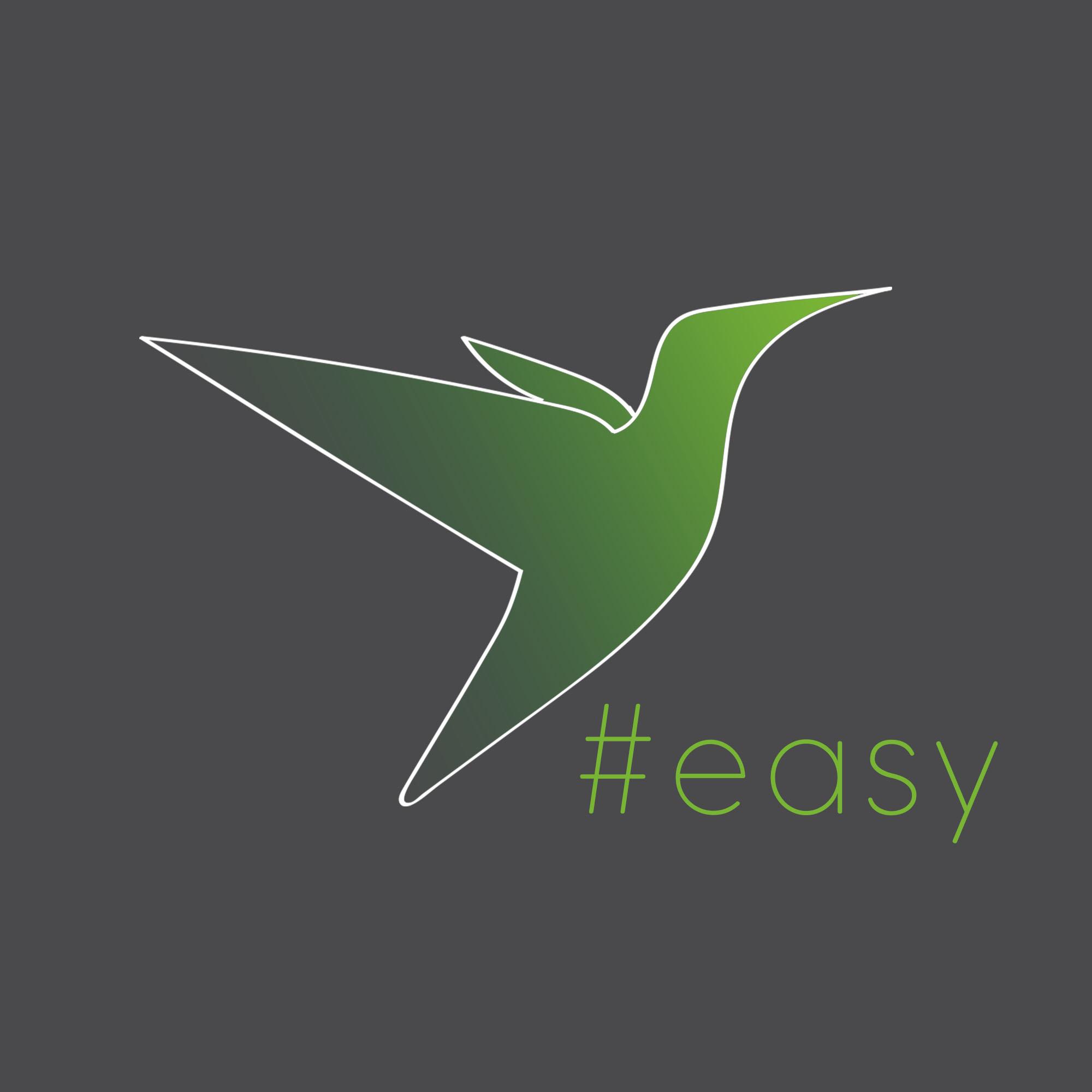 Разработка логотипа в виде хэштега #easy с зеленой колибри  фото f_9655d4f03b95d826.jpg