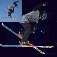 Лыжник и комки снега отделены от фона