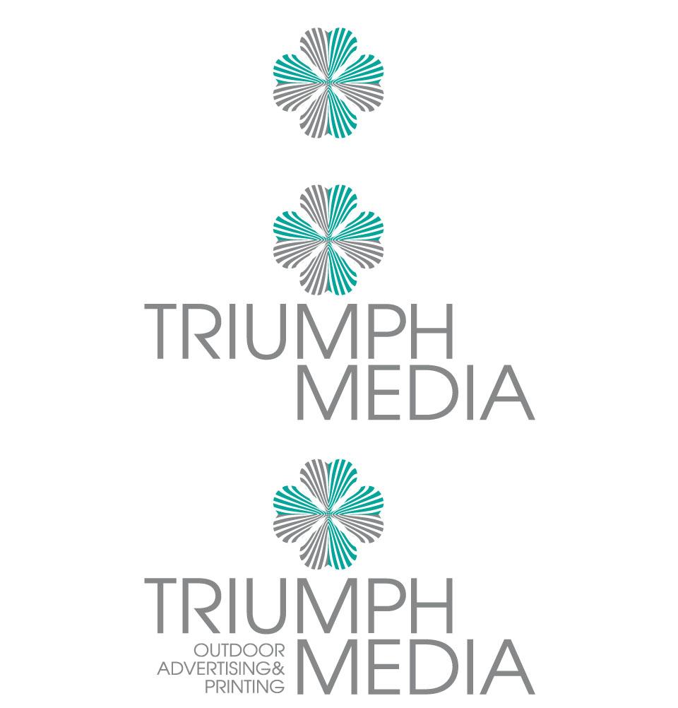 Разработка логотипа  TRIUMPH MEDIA с изображением клевера фото f_506f1107ab61b.jpg